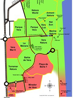Map of naturist zone, our apartment is on Bahia De Vera
