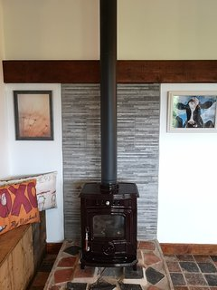 Wood burner, creating a center point for the open plan living area.