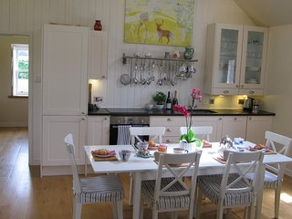 The lovely, bright open-plan kitchen/dining area
