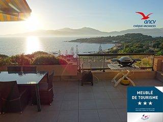 Porticcio - Duplex, jardinet, wifi, clim, proche mer, vue panoramique