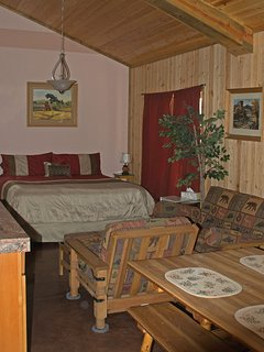 'Fall Suite' has private entrance and bathroom, with CA King bed and futon.