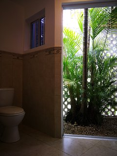 Outside palm tree balcony merges with bathroom