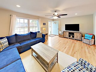 Walk to Windmill Beach! Brand-New 3BR + Game Room Cape Cod Retreat w/Fire Pit