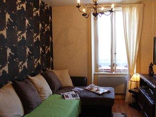 Un salon télé confortable avec lecteur DVD, magazines et livres enfant,  ouvrages sur l'Auvergne...