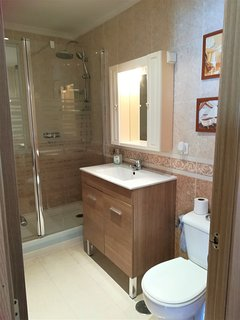 Large walk-in shower, vanity unit with was basin, w.c.