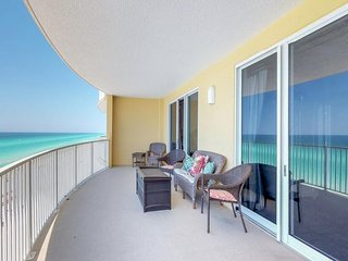 Oceanfront getaway w/ shared pool, hot tub, beach access, & sweeping views