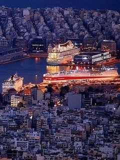Piraeus Port night aspect