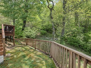 back yard and deck area