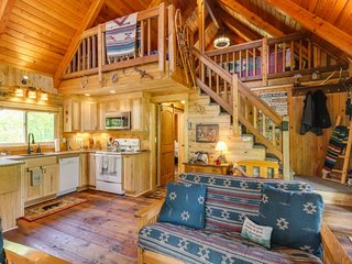 Vintage riverfront cabin w/ river views, covered deck & fireplace - lake nearby!
