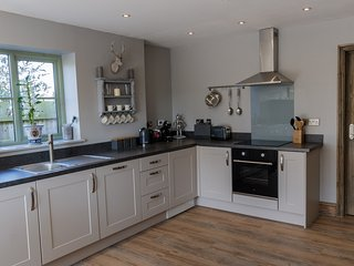 Kitchen with oven, hob and American fridge freezer