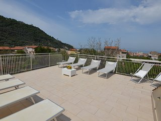 Exclusive Terrace Solarium equipped with sun beds, sun chairs, shower, tables, chairs, and barbecue