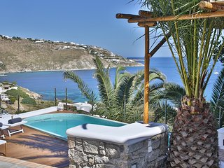 Villa Athena, Mykonian style villa with sea view and swim spa pool