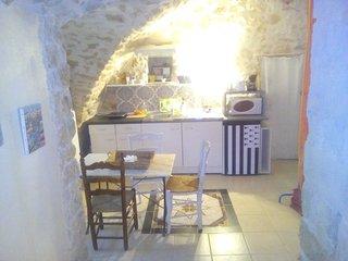 coin cuisine équipé: frigo, cafetière,bouilloire, grill pain, micro ondes, plaques