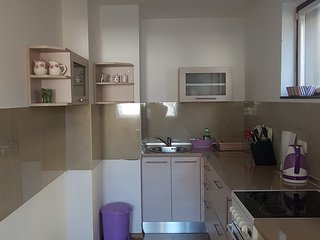 Fully equipped kitchen with kettle, stove, oven and fridge