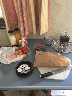 Ample breakfast provisions with our compliments plus Bleasdale Port and some chocolates