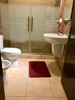 Bathroom  with towels, soap, toothbrush and toothpaste, shampoo, hand and body soap, tissue