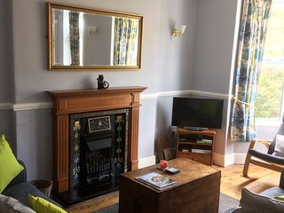 The lounge with coal effect gas fire