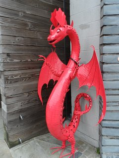 Look at for the Welsh Dragon in this historical slate mining town.