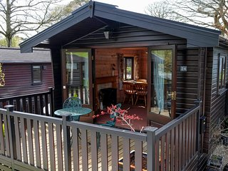 One bedroom pinelodge, tranquil setting, panoramic views and private parking.