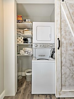 A shared washer and dryer is available for you to use.