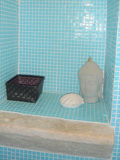 blue mosaic shower room