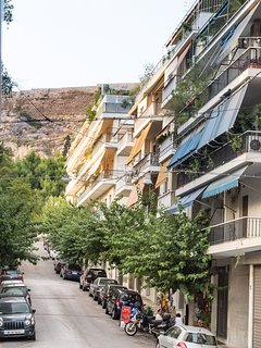 Our street with the Acropolis beyond