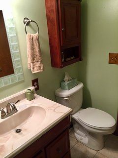 Upstairs bathroom with full bath.