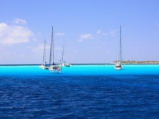 Les eaux turquoises des Tobago Cays lors d'une croisière à bord du catamaran Pommeliane.