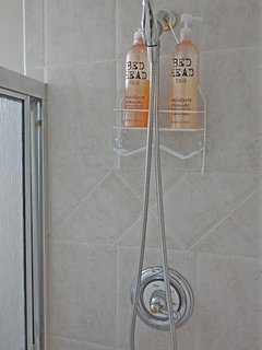 Hand held shower wand in master bath. Shampoo/conditioner to use. We have 2 shower chairs. Just ask!