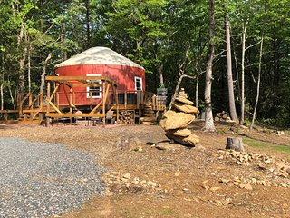 Yurt with a hot tub sitting near the Blue Ridge Parkway