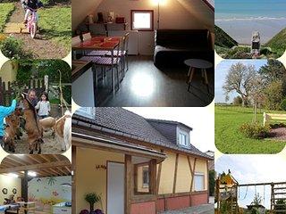 Le Nid, domaine le Soleil Couchant, mini ferme, parc de jeux, vélos, Normandie