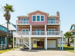 NEW LISTING! Expansive oceanfront home w/hot tub, great Crystal Beach Location!