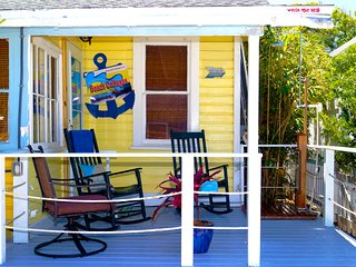 Rear porch has teaser view of gulf of mexico