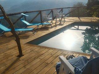 Villa with heated pool and stunning views in the hills above Bagni di Lucca