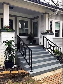The front steps and customized handrails