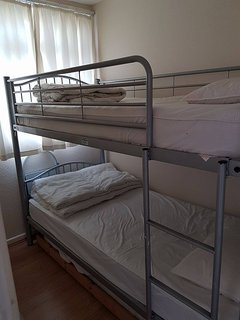bunk beds top middle and bottom