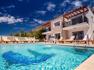 Villa Mirna with heated pool & whirlpool, traditional wine bar, 150m from sea