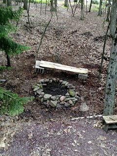 Fire pit with benches