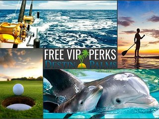 UPGRADED + Lagoon Style Pool, Near Beach + FREE VIP Perks & Trolley Service!!