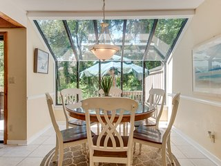 Dining area with large windows for natural light