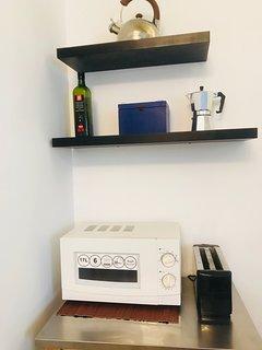 microwave, tea kettle and cofee maker