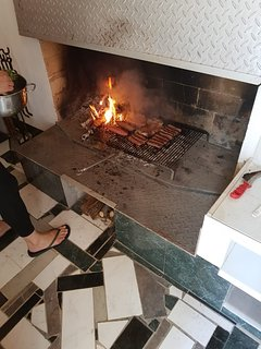 Hot fireplace with meat