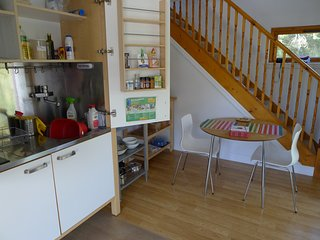 Downstairs kitchenette and seating area