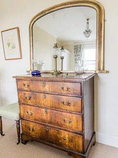 Dressing table and large mirror.