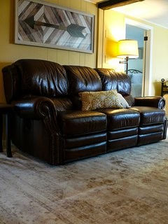 Power reclining leather sofa. Curl up and watch a movie