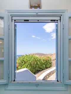 Bedroom No3 - window overlooking the western side of the island