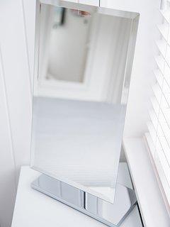 Bedroom 1: kingsize bed, fitted wardrobes, desk, TV, ensuite bathroom. Rear of building
