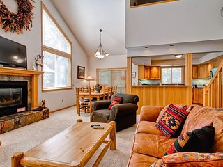 Stretch out in the open floorplan great room with 55' TV and gas fireplace. Netflix available on TV if you have your own account.