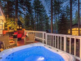Enjoy the hot tub on your private back porch after a day on the slopes.