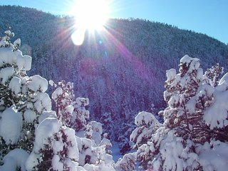 Snow angel over Taos Canyon! We recommend an All-Wheel or Four Wheel drive. We plow our driveway.